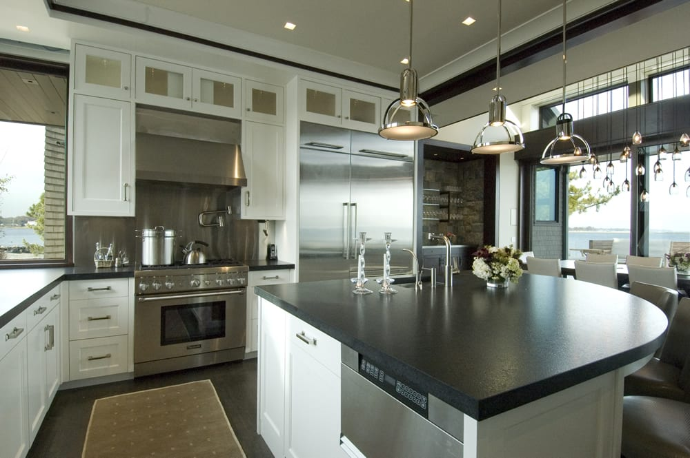 Modern kitchen with automated lighting